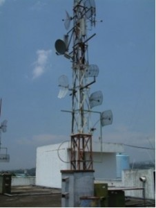 Rooftop Tower on top of ITB building with 2.4GHz Wireless Links. These helped to connect other educational institutes to the Internet