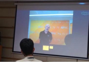 Paul Wilson, Director General APNIC, addressing pkSIG students via Skype