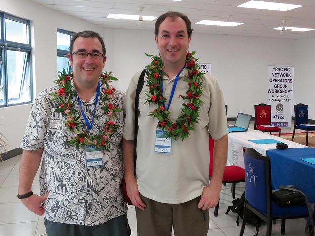 NSRC trainers Dean Pemberton, left and Jonathan Brewer, right, at the PacNOG 13 conference at Tungi Colonnade, Nuku'alofa, Tonga, 2013 | Credit: Dean Pemberton