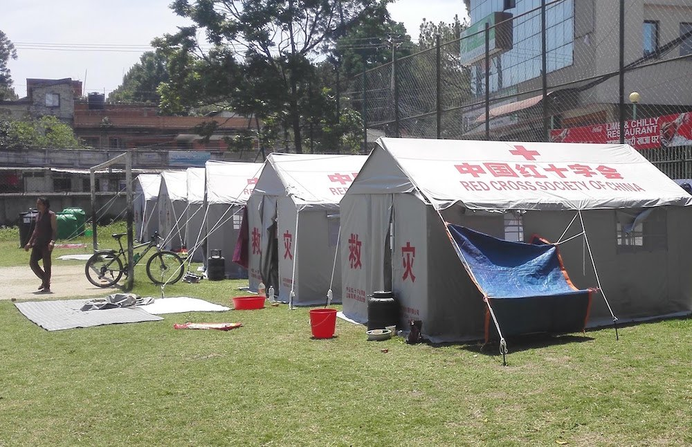 Tents were set up throughout Nepal for people who were made homeless due to damaged houses | Image Credit: Binay Bohra