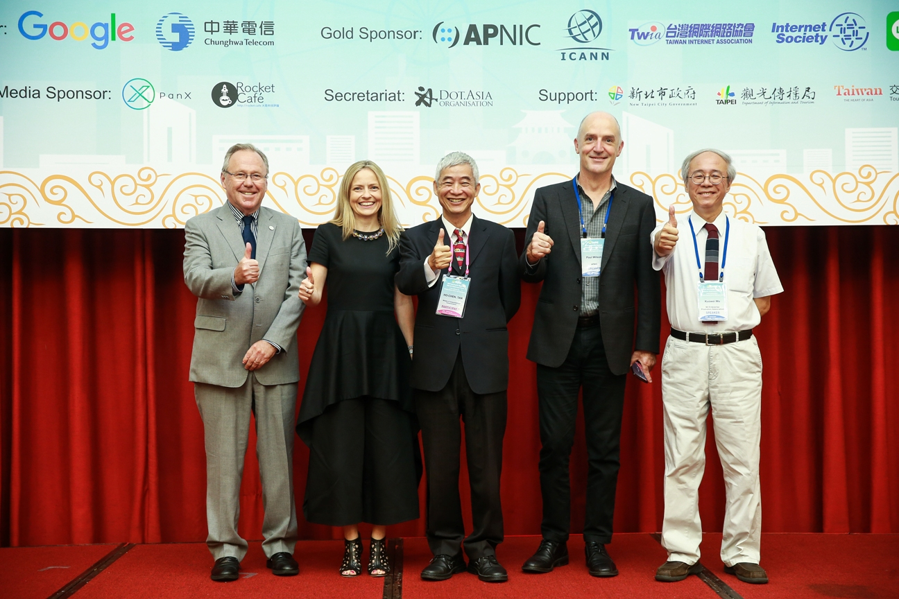 "L-R Markus Kummer, Susan Pointer, Ho-Chen Tan, Paul Wilson and Kuo Wei Wu at APrIGF 2016. Photo: <a href=""https://2016.aprigf.asia/photo-gallery/july-27-day-1/#jp-carousel-5934"" target=""_blank"">APrIGF</a>"