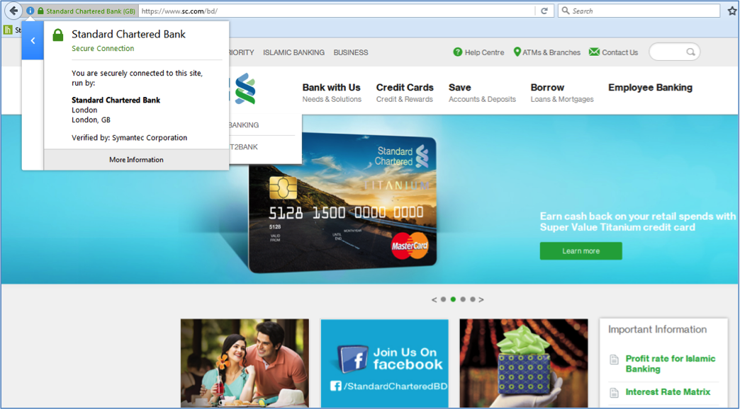 Snapshot of a website (Standard Chartered Bank Bangladesh) with an organizational validation certificate (the information is displayed under the secure site seal in the top left).