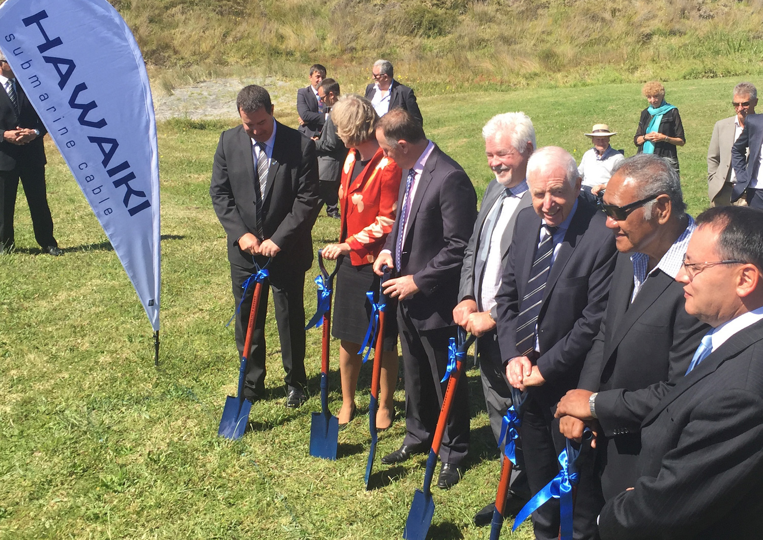New Zealand's former Prime Minister, John Keys (third from left), attended the New Zealand ground-breaking ceremony for the Hawaiki Cable.