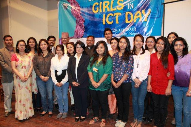 "International Girls in ICT Day aims to encourage girls and women to use ICT and build up their career in ICT field. Source: <a href=""https://www.itu.int/en/ITU-D/Digital-Inclusion/Women-and-Girls/Girls-in-ICT-Portal/Pages/events/2013/Asia-Pacific/Nepal-2013-1.aspx"" target=""_blank"">ITU</a>"
