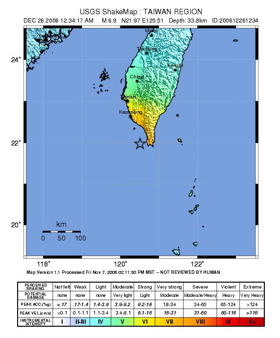 USGS map of the earthquake off Taiwan in 2006.