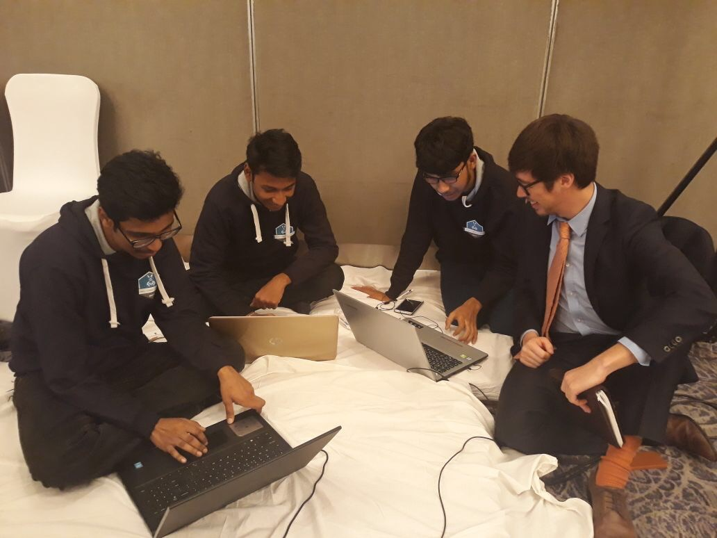 Klée with participants at the Global Cyber Challenge Peace-a-thon.