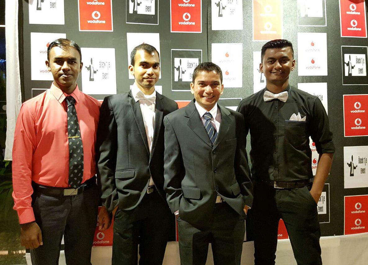 Ravikash Chandra (third from left), Vodafone Fiji's Technical Manager for Data Networks, with his team.