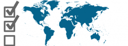 world map with 3 checkboxes overlaid