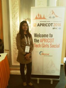 Afifa Abbas at the Tech Girls Social at APRICOT 2018