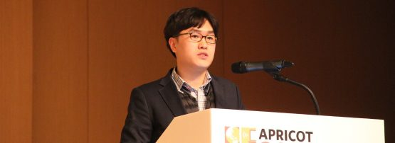 Hanwoong Lim of SK Telecom speaking at APRICOT 2019.