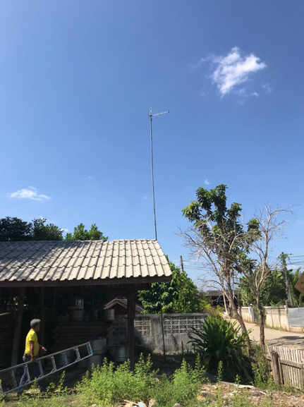 Figure 5 — The Customer Premise Equipment (CPE) is deployed at each village while the antenna is setup on the 10 meters high pole.