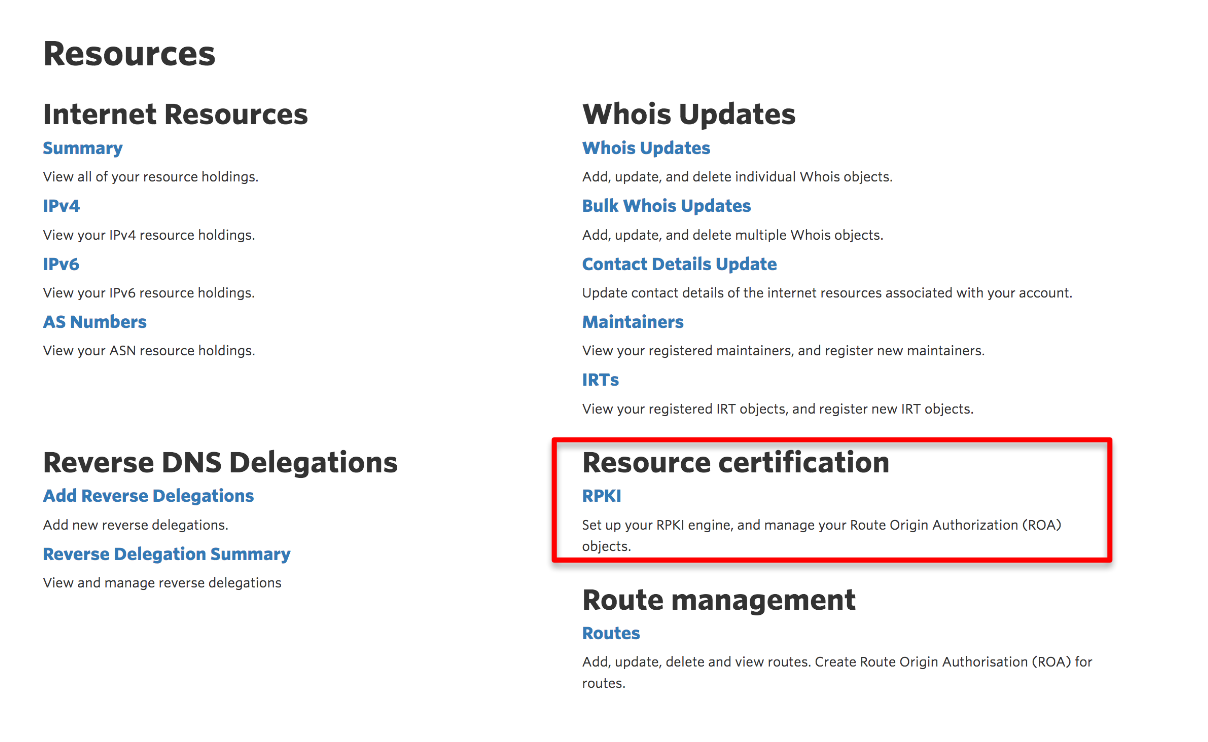 Figure 1 — MyAPNIC Resources page.