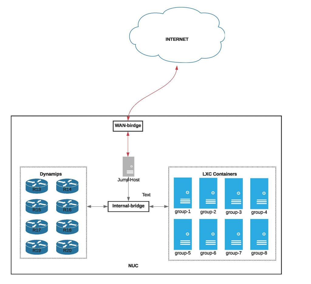 Figure 1 — Virtual lab setup for the online tutorial earlier this month. The lab was set up on NUCs and hosted on-premise for remote participant access.