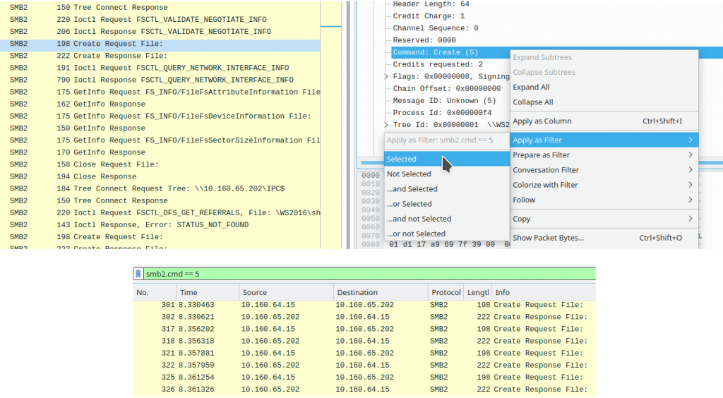Filtering CREATE packets from the decoded Command field