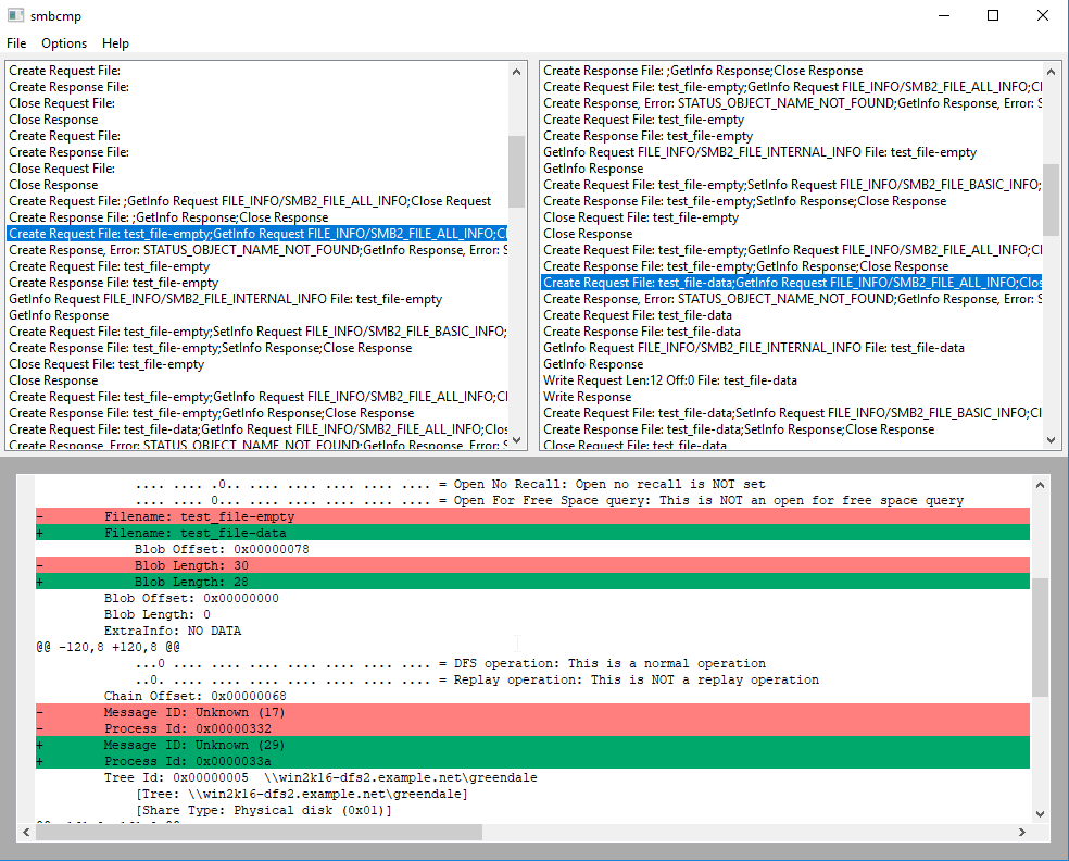 smbcmp comparing SMB packets (bottom panel) from two network traces (two top panels)