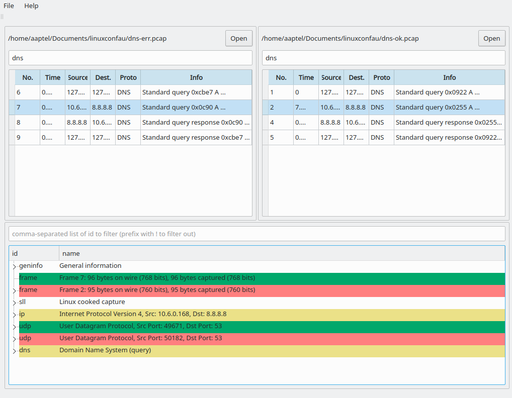 Screenshot of WireDiff comparing two packets from traces filtered by the protocol DNS.