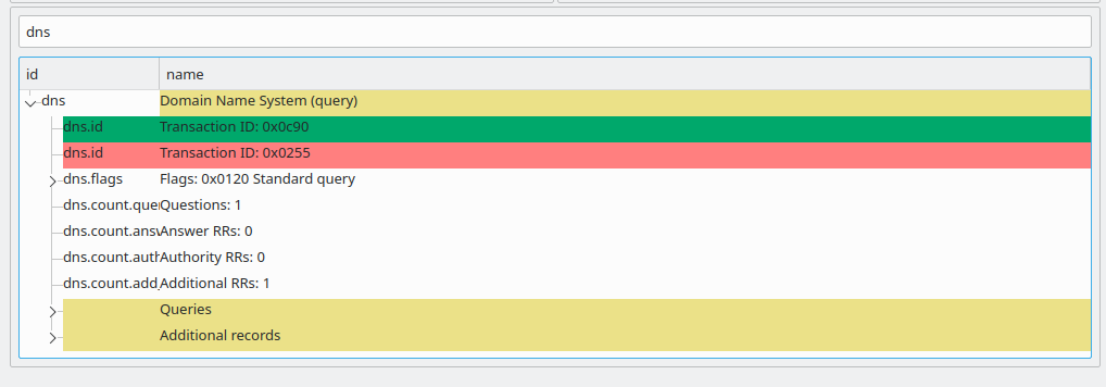 Screenshot of how to show DNS differences by typing the id into the filter box.