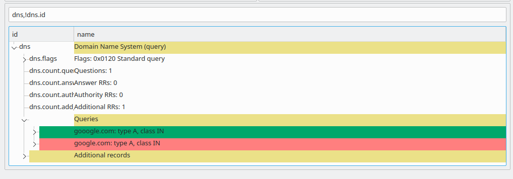 Screenshot showing how to discard query ID differences and expanding Queries.