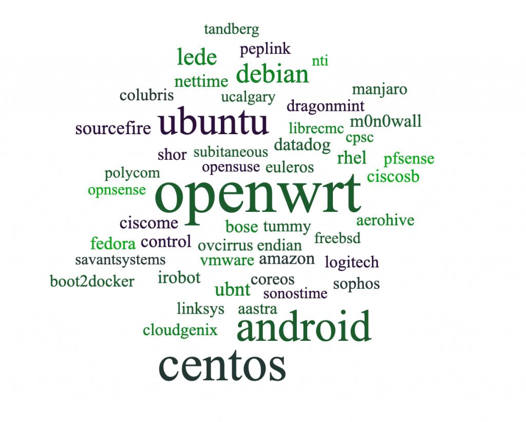 Word Cloud showing top NTP vendors