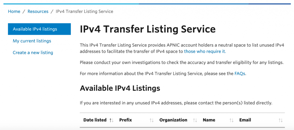 An image showing the details of the IPv4 Transfer Listing Service on the APNIC site.