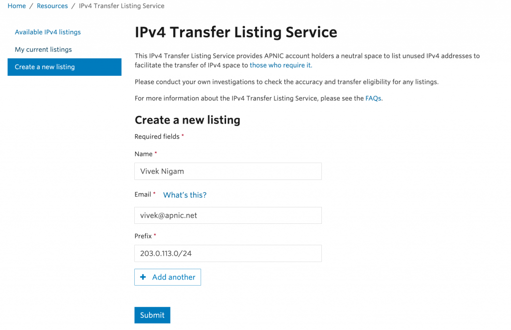 A picture showing the required fields for APNIC's IPv4 transfer listing service