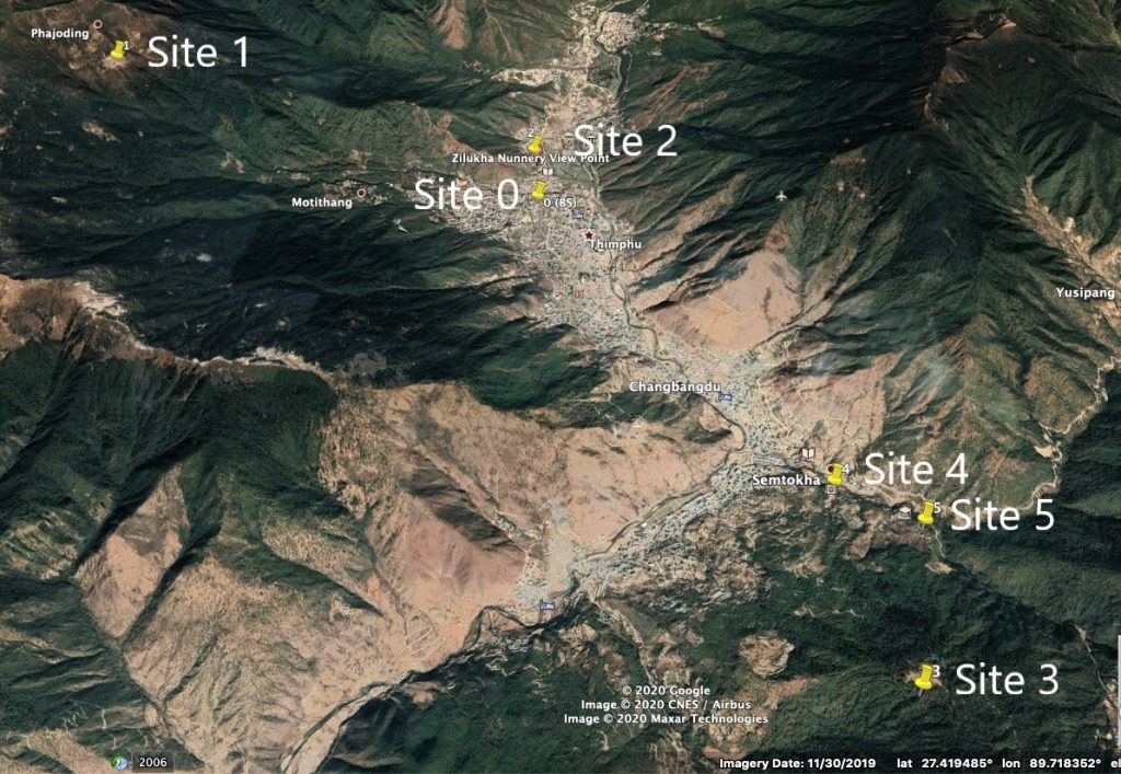A map of Thimphu with the project sites.