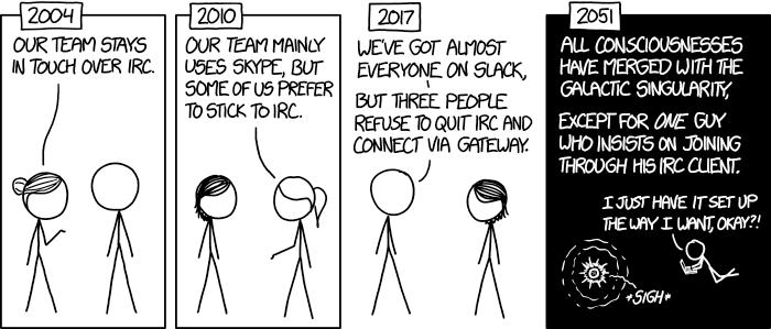 XKCD Comic #1782: Team Chat (CC-BY-NC 2.5)