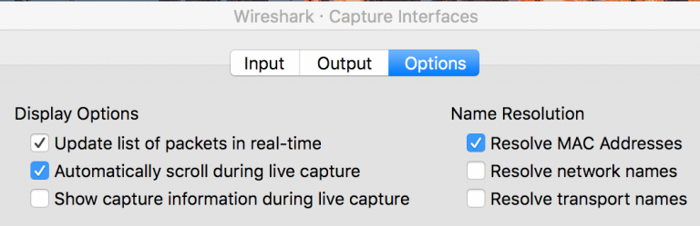 The Wireshark capture interface options