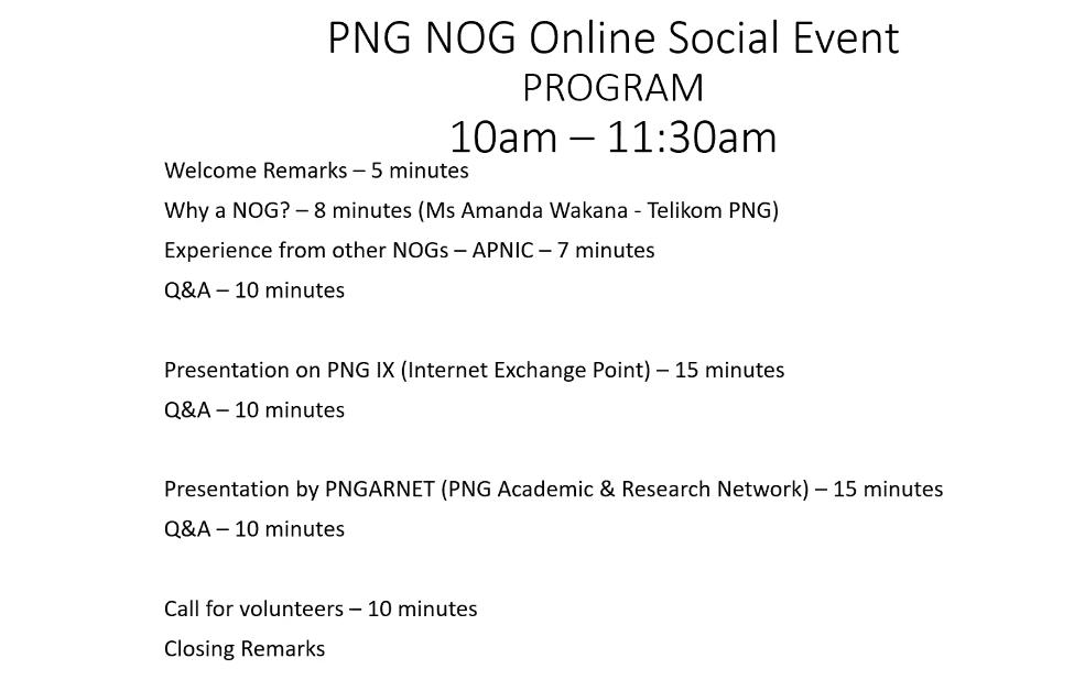 Agenda from PNGNOG 0.1