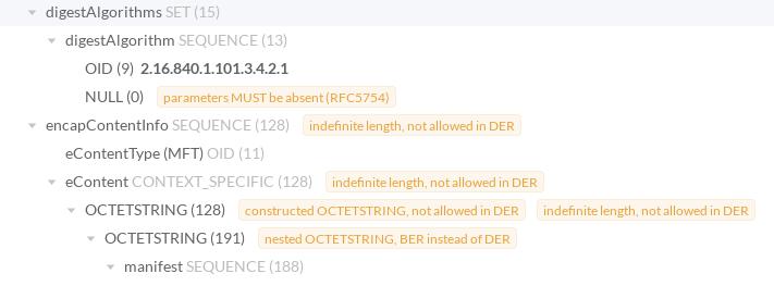 Screenshot of ASN.1 decoder and parser