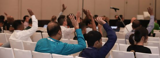 Image showing raised hands