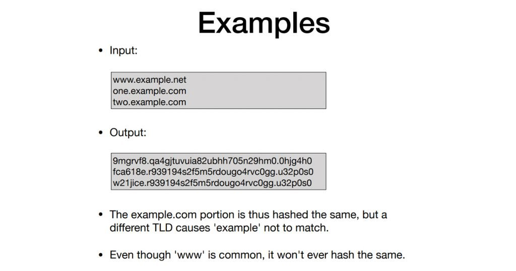 Figure 6 — Hashed RPZ example from Jeroen Massar's presentation.