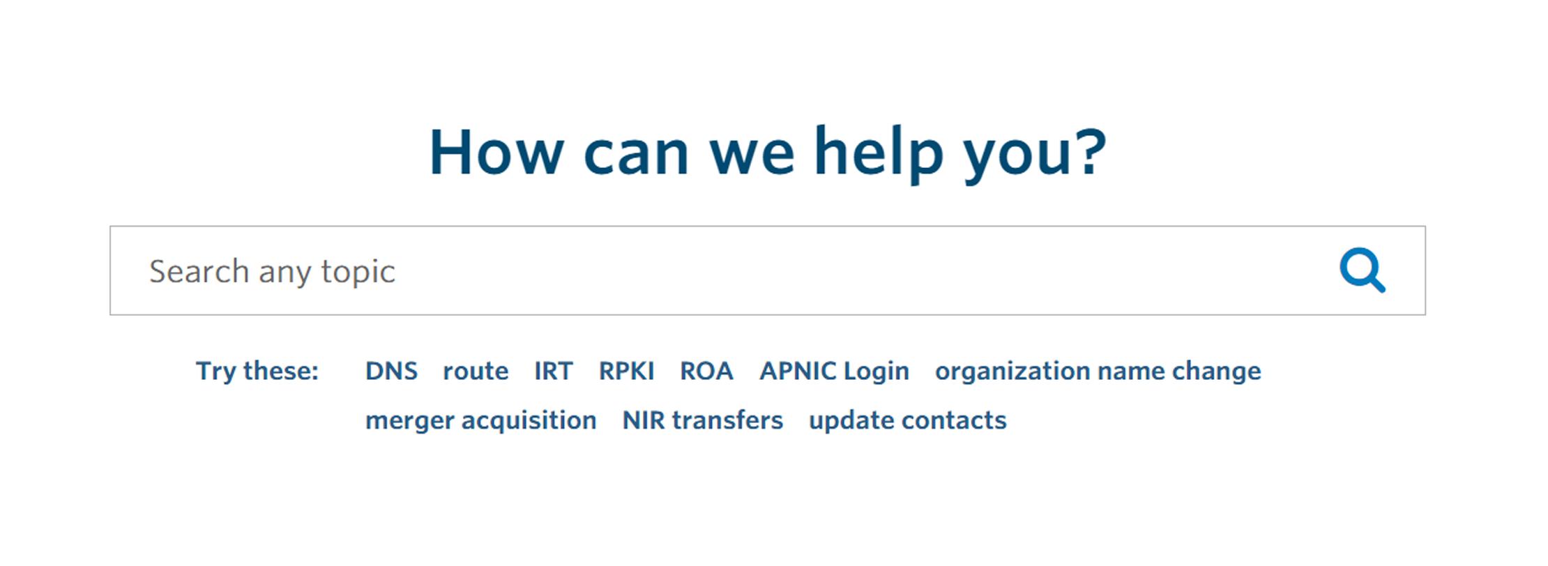 APNIC Help Centre now live