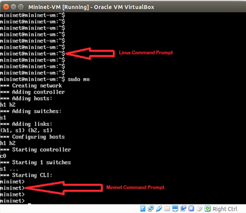 An image showing the Mininet command prompt