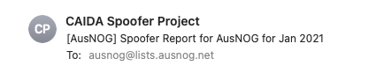A subject header for a CAIDA spoofer report email.