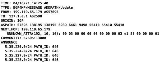 Figure 6 — Route dump, 5.35.230.0/24 announced by AS8972.