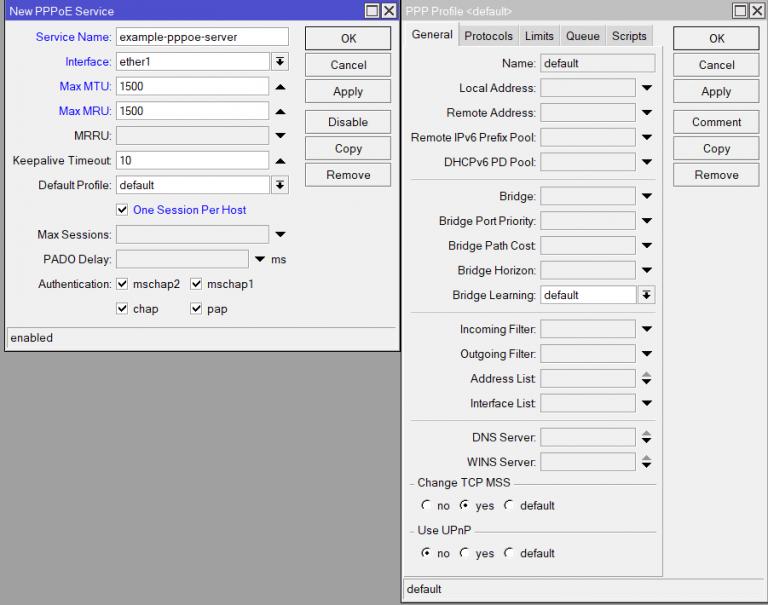 Figure 3 — PPPoE server MTU/MRU and TCP MSS clamping configuration.
