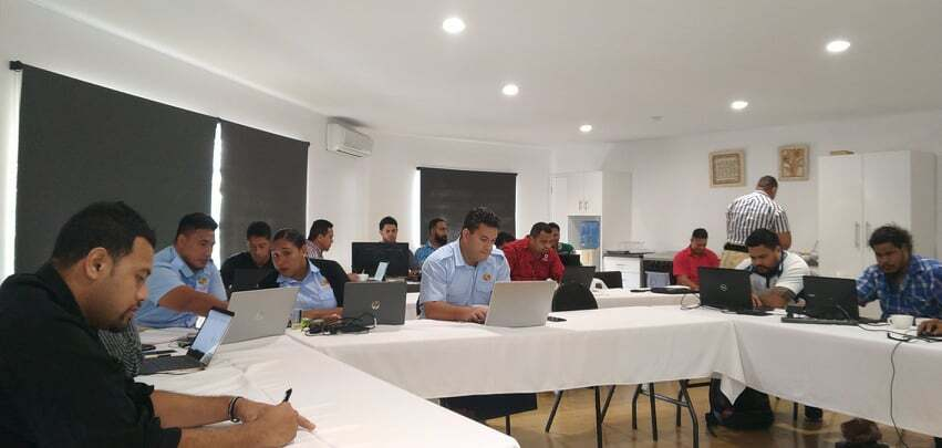 A photograph of students attending the NMM course in Tonga.