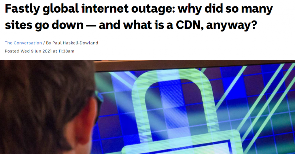 Figure 2 — An ABC News report on the Fastly outage.