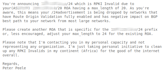 Figure 3 — A screenshot of a typical email sent to relevant network operators. Specific details have been removed to protect the reputation of the network operators involved.