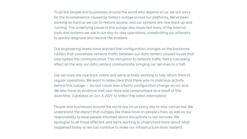 Figure 1 — Facebook's 4 October outage report.