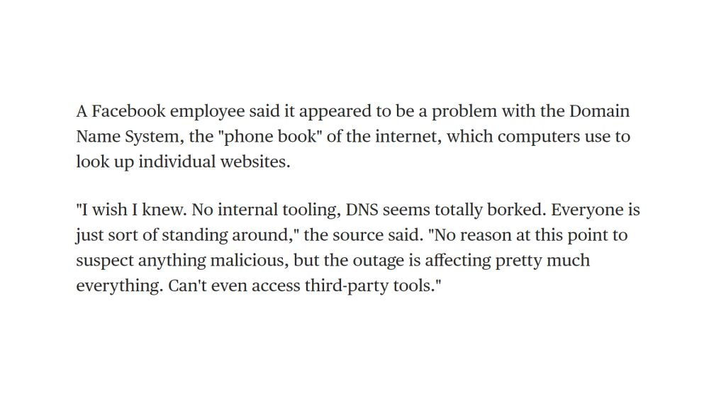 NBC News report on Facebook's 4 October outage. Source.